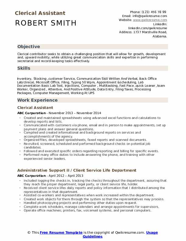 clerical assistant resume samples qwikresume experience on pdf career fair template Resume Clerical Experience On Resume
