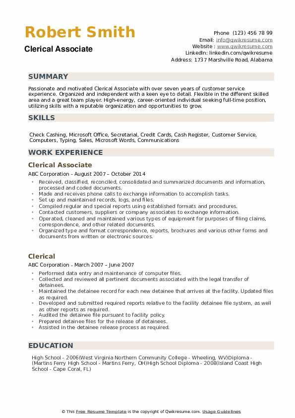 clerical resume samples qwikresume experience on pdf declaration statement examples Resume Clerical Experience On Resume