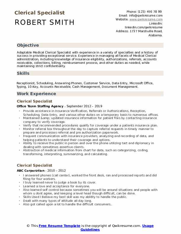 clerical specialist resume samples qwikresume experience on pdf create free infographic Resume Clerical Experience On Resume