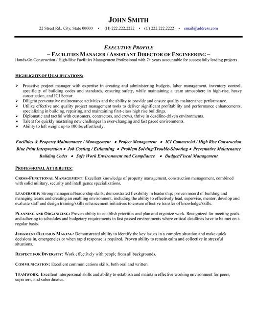 click here to this facilities manager resume template http resumetemplates101 retail Resume Director Of Facilities Resume