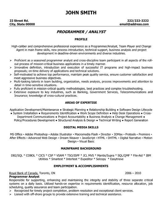 click here to this program analyst resume template http resumetemplates101 job samples Resume Programmer Analyst Resume Sample