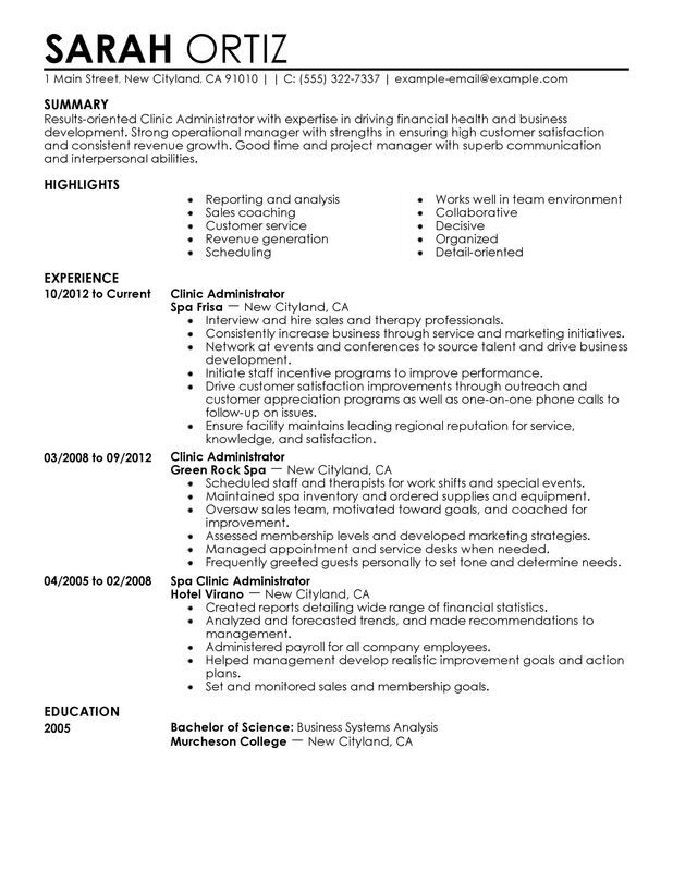 clinic administrator resume examples created by pros myperfectresume bachelor of business Resume Bachelor Of Business Administration Resume Sample
