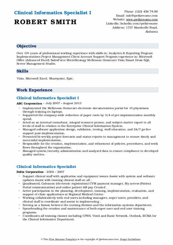 clinical informatics specialist resume samples qwikresume health objectives pdf fun Resume Direct Care Counselor Job Description Resume
