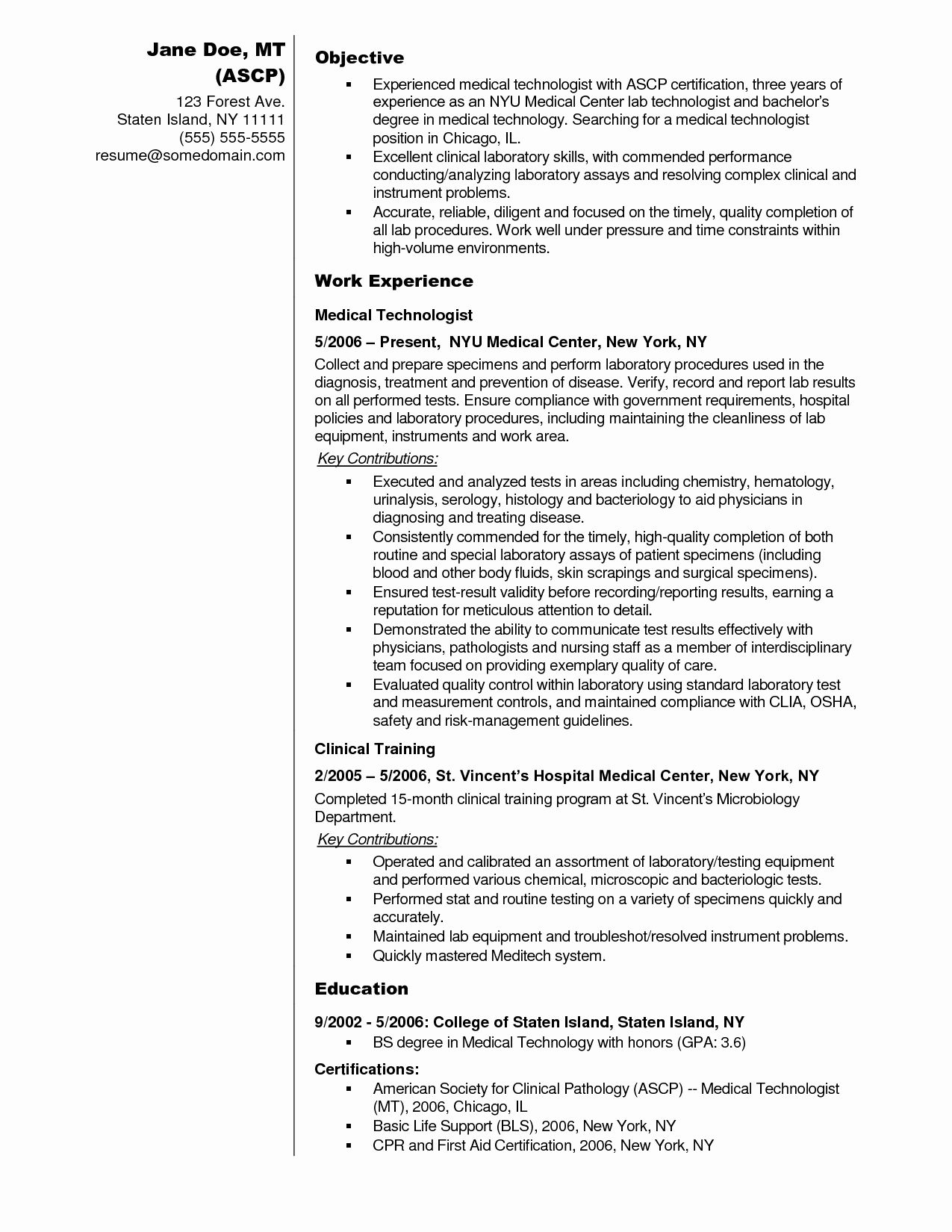 clinical laboratory scientist resume awesome sample medical technologist examples lab Resume Resume Templates Medical Laboratory Technologist