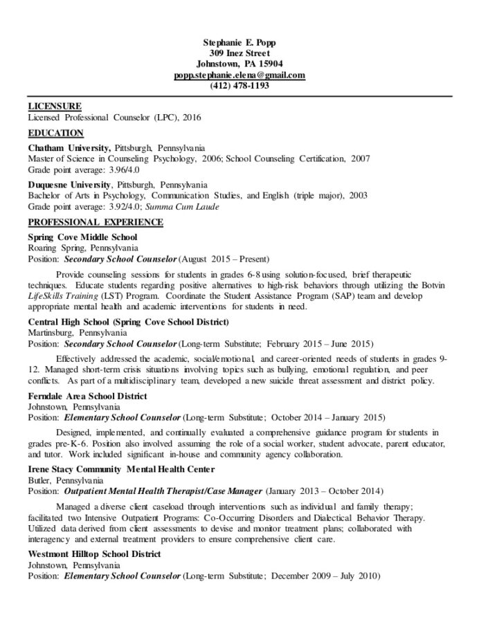 clinical mental health resume with active licensure lpc licensed professional counselor Resume Mental Health Resume Template