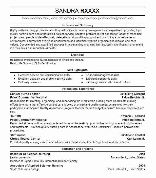 clinical nurse leader resume example resumes livecareer nursing skills for boston college Resume Nursing Clinical Skills For Resume