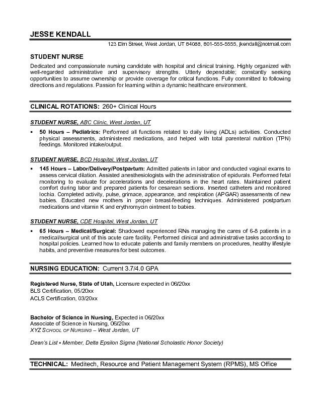 clinical nursing resume template student nurse examples sample for school application Resume Sample Resume For Nursing School Application