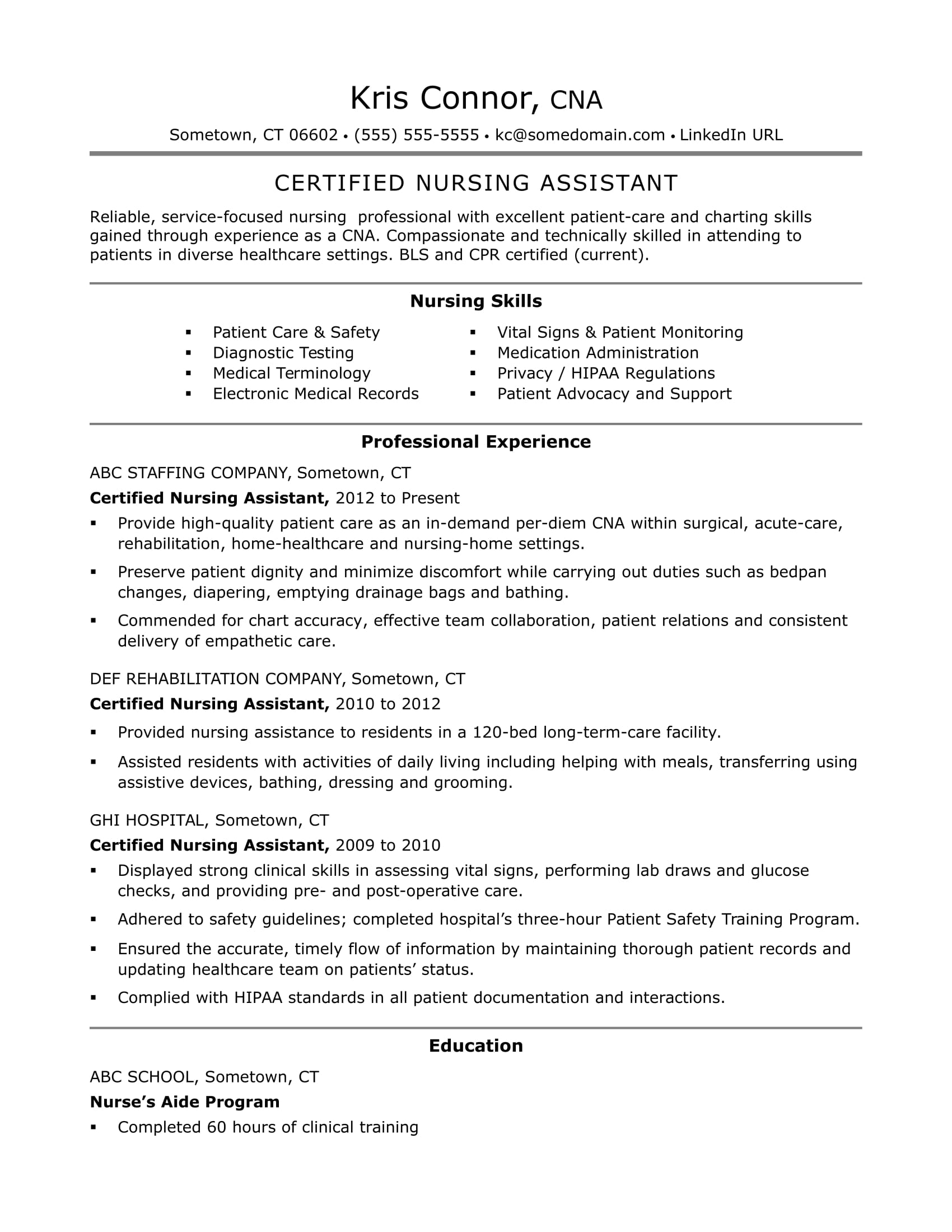 cna resume examples skills for cnas monster nursing clinical certified assistant family Resume Nursing Clinical Skills For Resume