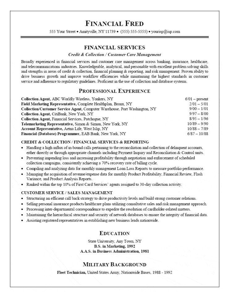 collection agent resume customer service cover letter for format skills delivery driver Resume Collection Resume Format