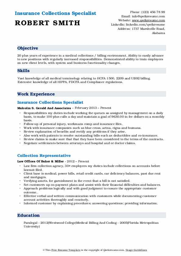 collections specialist resume samples qwikresume collection format pdf assistant lecturer Resume Collection Resume Format