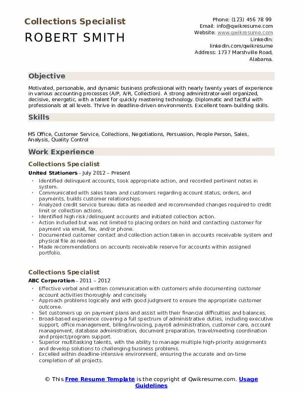 collections specialist resume samples qwikresume collection format pdf document Resume Collection Resume Format