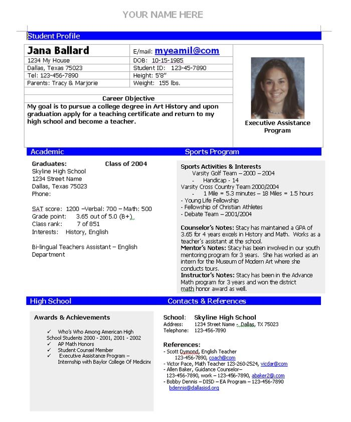 college admission resume template home planning high school teacher examples sports Resume High School Sports Resume Template