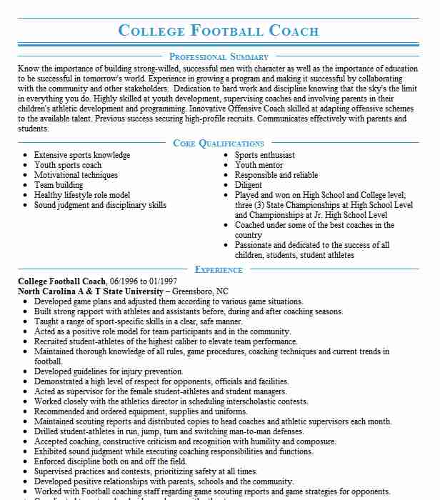 college football coach resume example resumes livecareer objective for coaching avionics Resume Objective For Coaching Resume