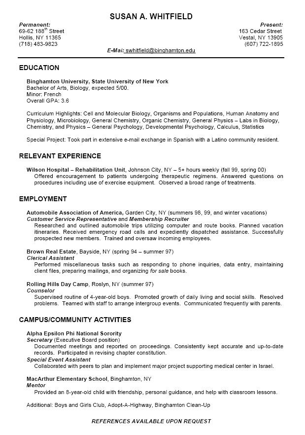 college resume format for high school students we provid student template biology google Resume Resume First Year College Student