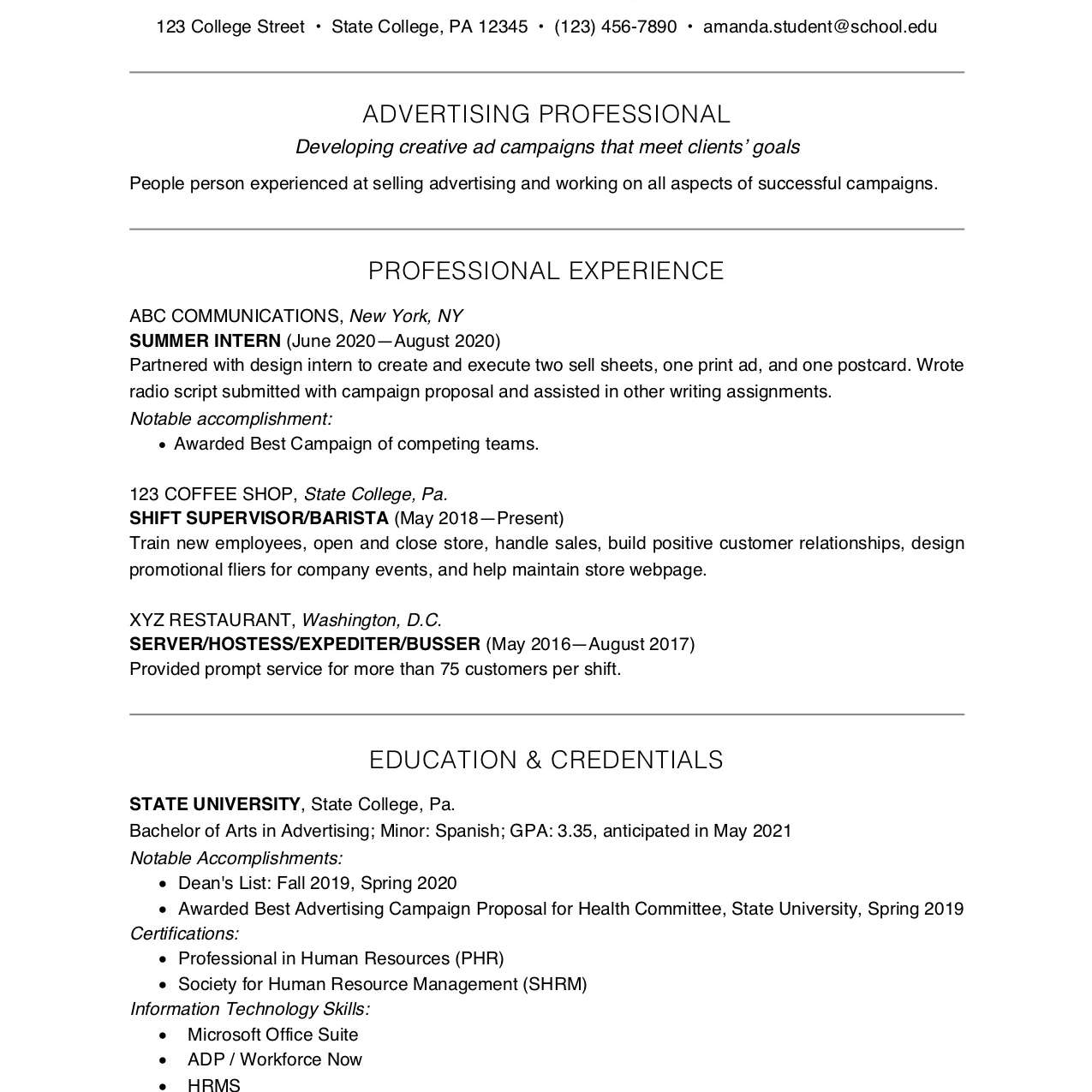 college student resume example and writing tips high school examples for 2062302res Resume High School Resume Examples For College