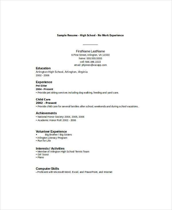 college students resume with no experience job examples first student template sample for Resume Resume With No Work Experience College Student Template