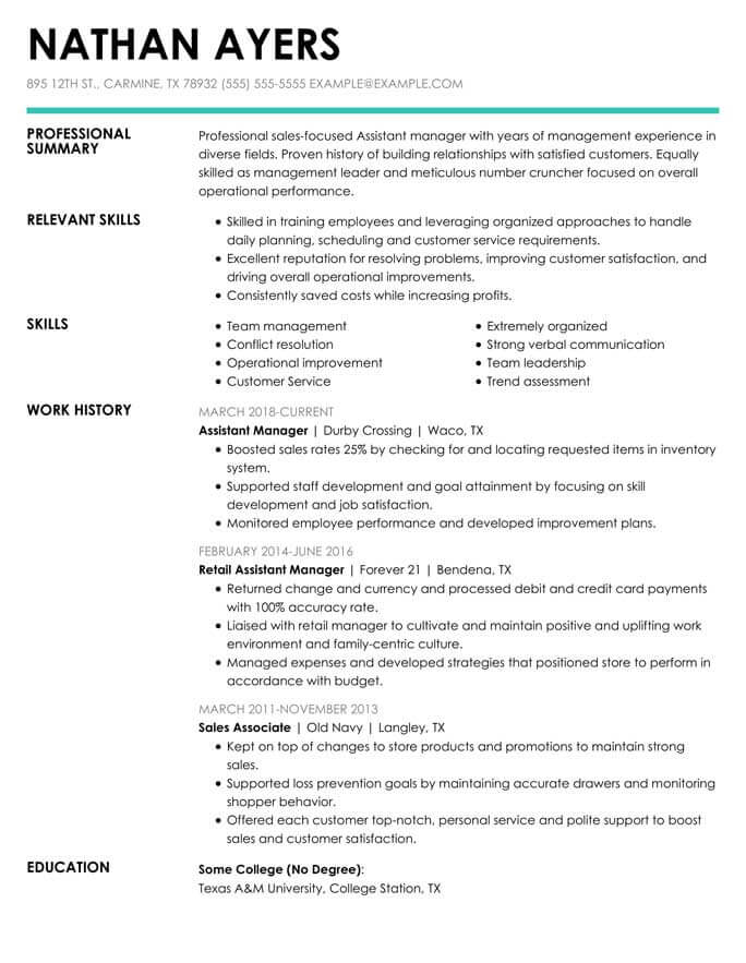 combination resume format templates tips hloom targeted template assistantmanager supply Resume Targeted Resume Template