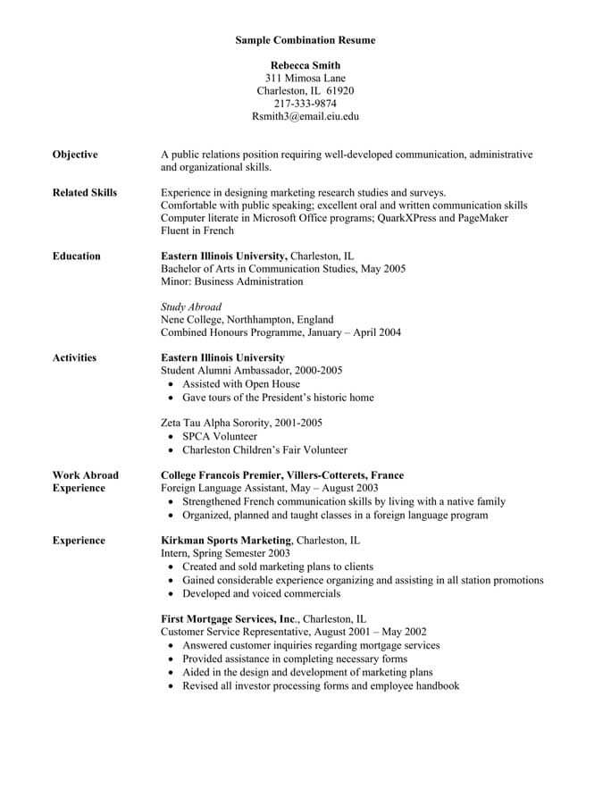 combination resume format templates tips hloom template mdaa entry level sample for Resume Combination Resume Template 2020