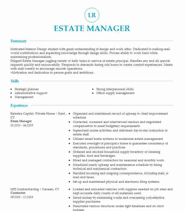commercial pilot resume private estate manager most common font entry level medical Resume Estate Manager Resume Example