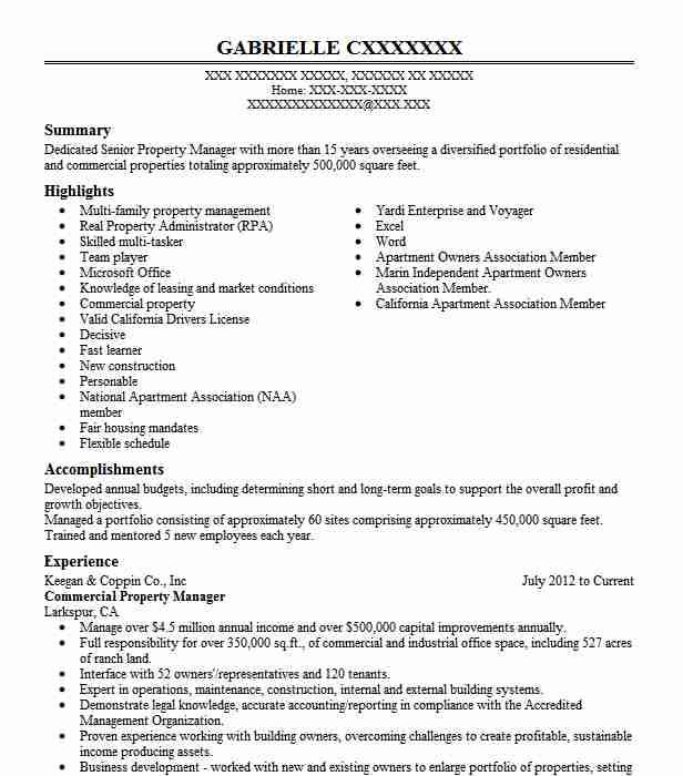 commercial property manager resume example livecareer management objective hospital Resume Property Manager Resume Examples