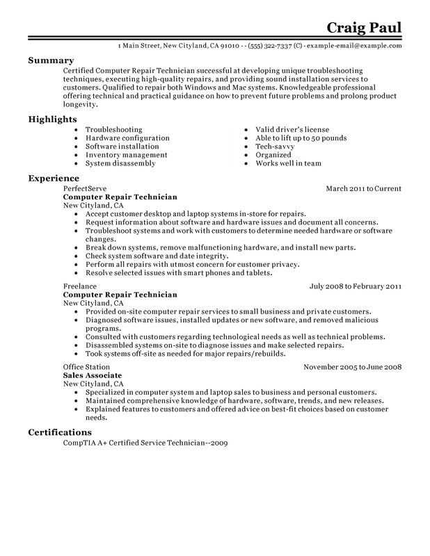 computer repair technician resume examples created by pros myperfectresume field sample Resume Field Service Technician Resume