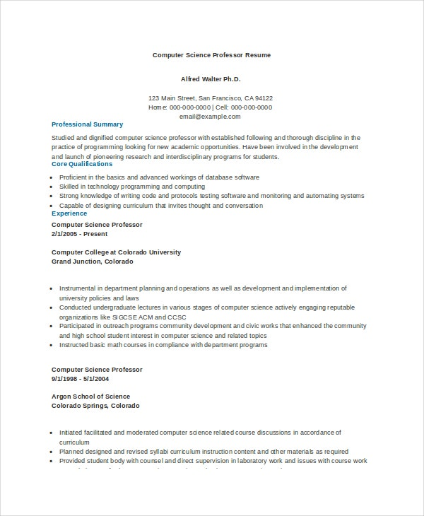 computer science resume example free word pdf documents premium templates sample for Resume Sample Resume For Computer Science Fresh Graduate