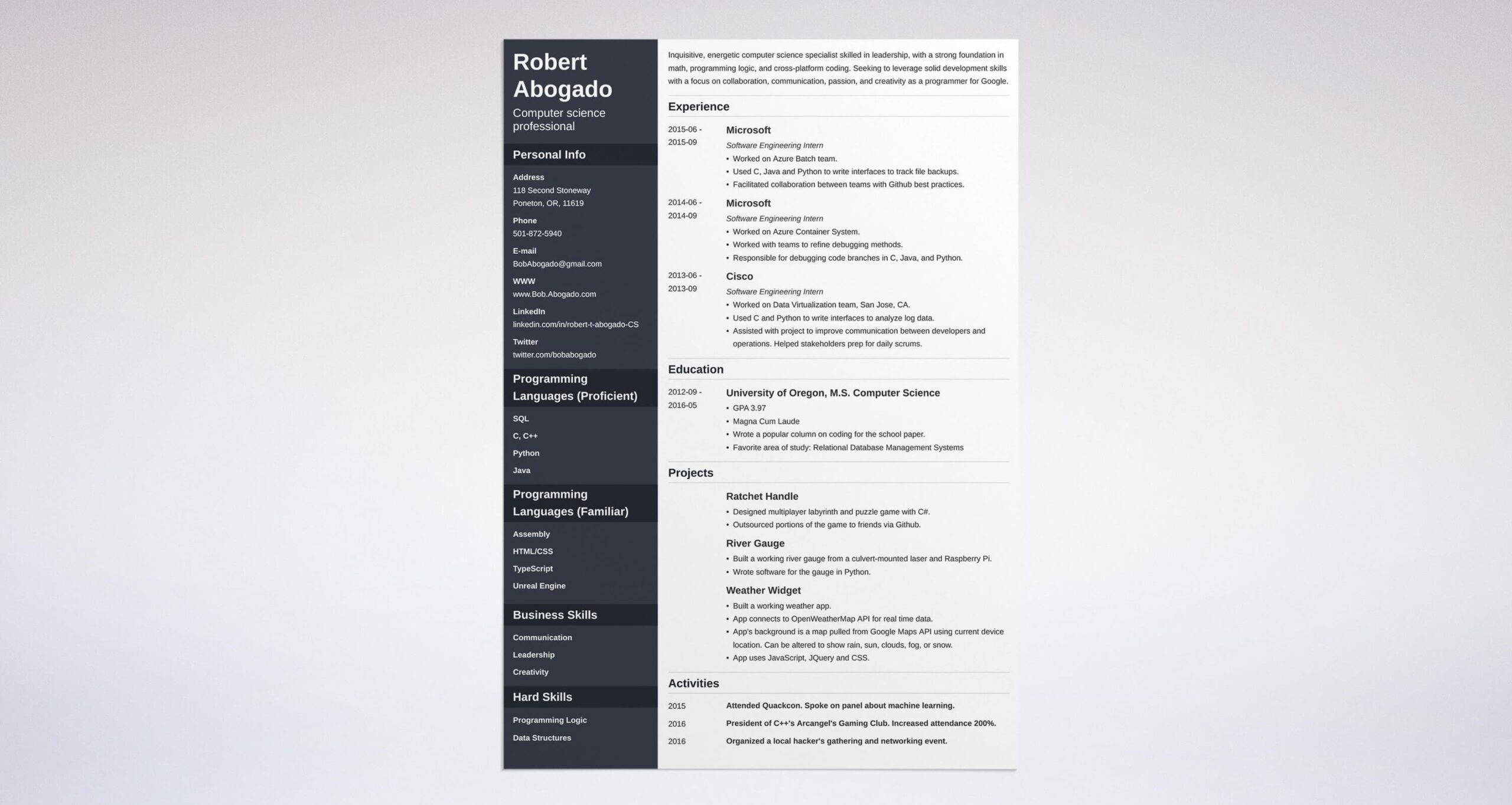 computer science resume example template guide student system analyst sample free avaya Resume Computer Science Student Resume