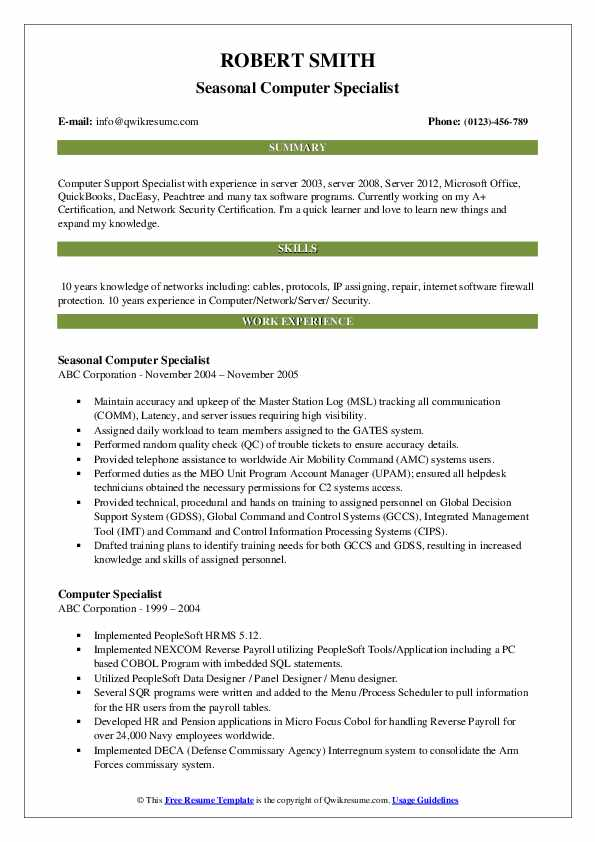 computer specialist resume samples qwikresume software programs for pdf full charge Resume Computer Software Programs For Resume