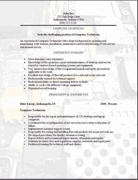 computer technician resume examples samples free edit with word tech templates resume3 Resume Free Tech Resume Templates
