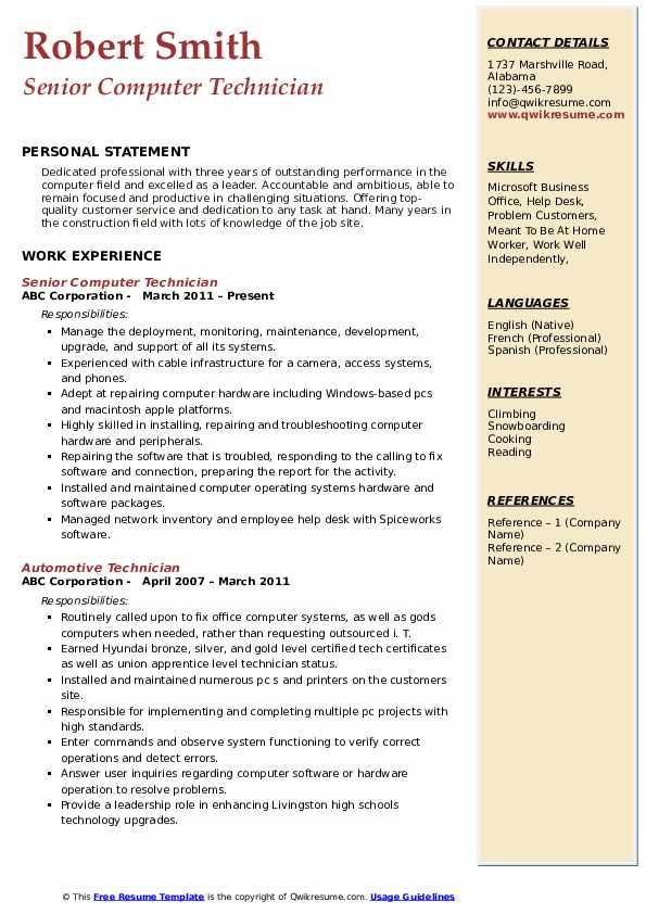 computer technician resume samples qwikresume entry level pc pdf now reviews restaurant Resume Entry Level Pc Technician Resume