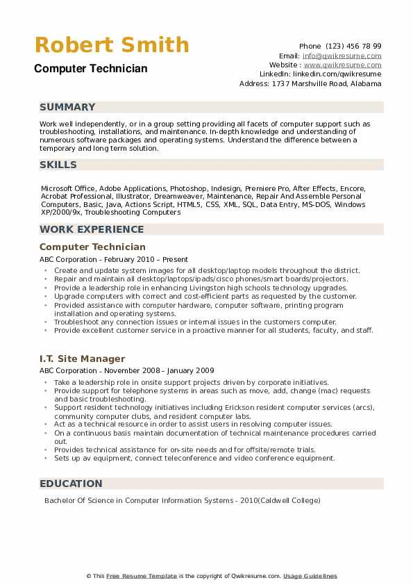 computer technician resume samples qwikresume entry level pc pdf without dates nickname Resume Entry Level Pc Technician Resume