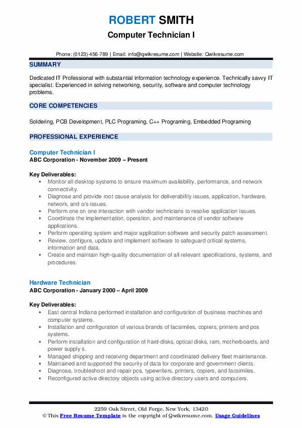 computer technician resume samples qwikresume entry level pc pdf without dates sample for Resume Entry Level Pc Technician Resume