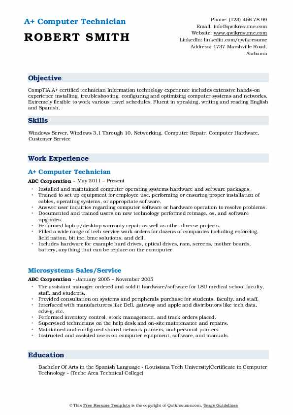 computer technician resume samples qwikresume pdf best for btech freshers academic layout Resume Resume Format For Msc Statistics Freshers