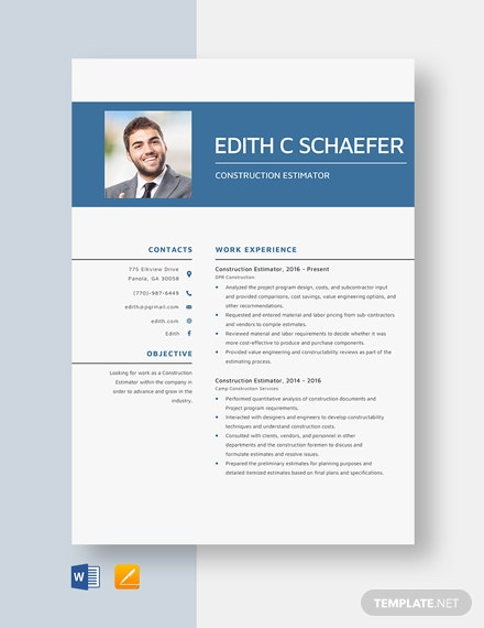construction estimator resume cv template word apple good layout auditor example city Resume Construction Estimator Resume