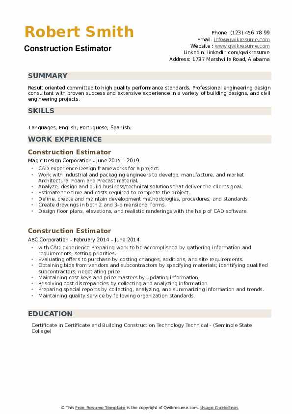 construction estimator resume samples qwikresume pdf simple job layout should put address Resume Construction Estimator Resume