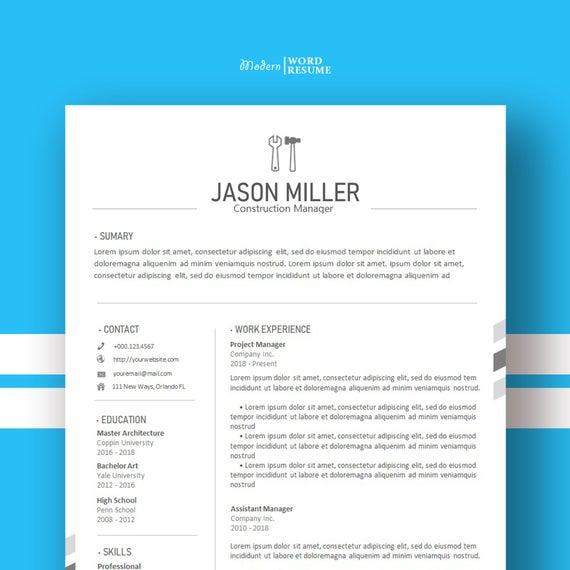construction resume template cover letter for etsy templates microsoft word il 570xn 3qff Resume Construction Resume Templates For Microsoft Word