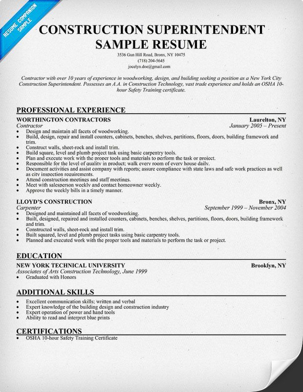 construction superintendent resume sample resumecompanion examples building software Resume Building Superintendent Resume