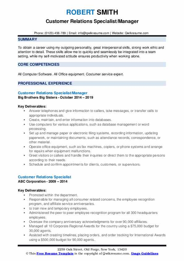 consumer relations specialist cv march talent management resume customer pdf for someone Resume Talent Management Specialist Resume