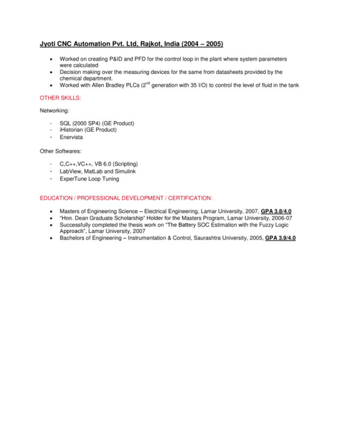 control systems engineer resume sample quantitative research for summer internship Resume Control Systems Engineer Resume Sample