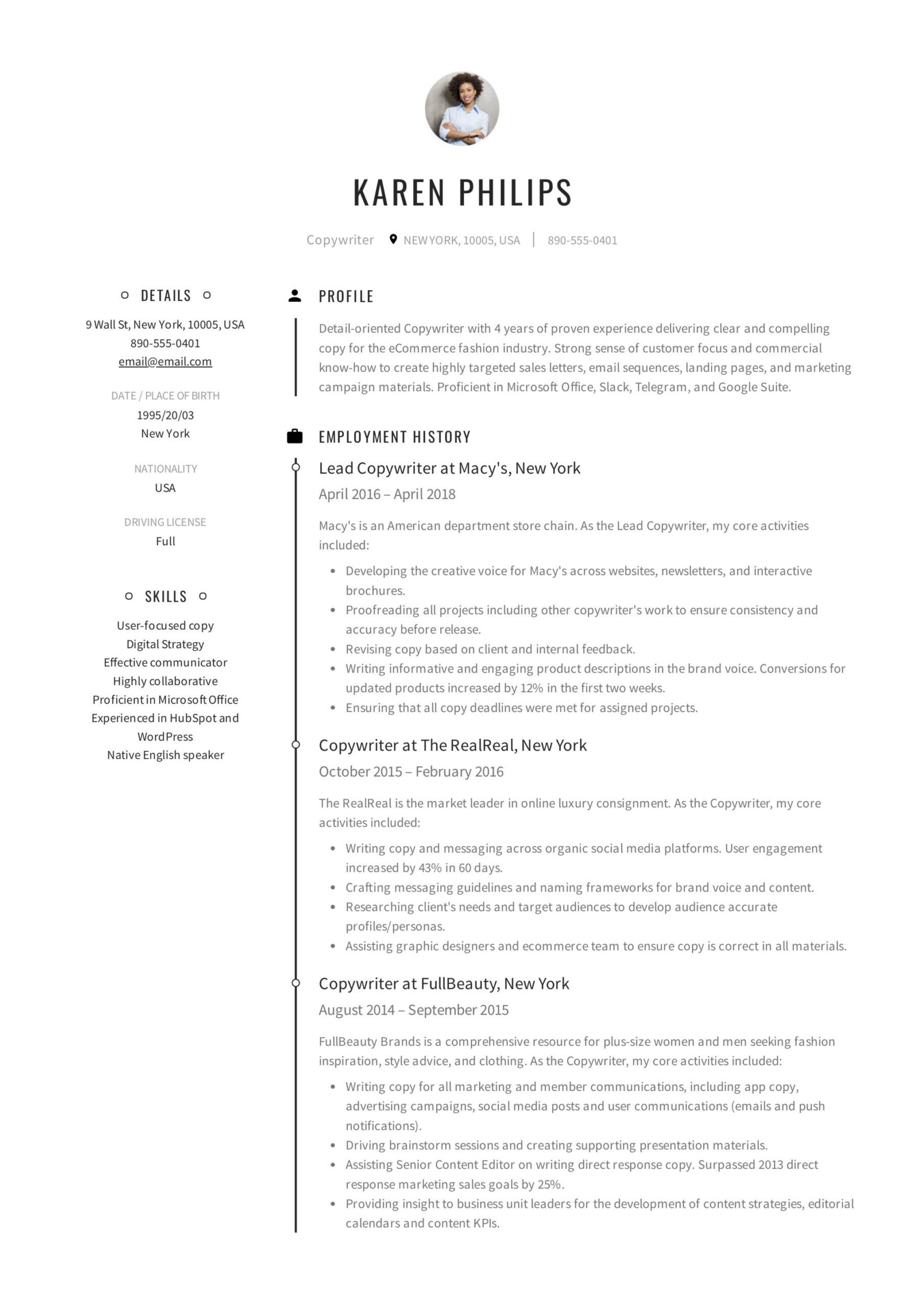 copywriter resume writing guide templates pdf creative sample best brand manager template Resume Creative Copywriter Resume Templates