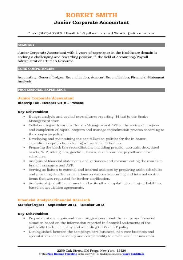 corporate accountant resume samples qwikresume core competencies for accounting pdf Resume Core Competencies For Accounting Resume