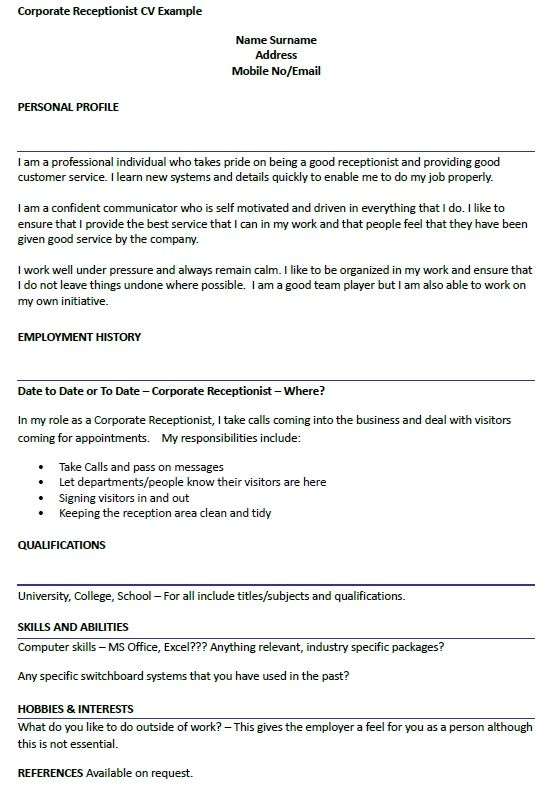 corporate receptionist cv example icoveruk examples resume can do latex computer science Resume Where Can I Do A Resume