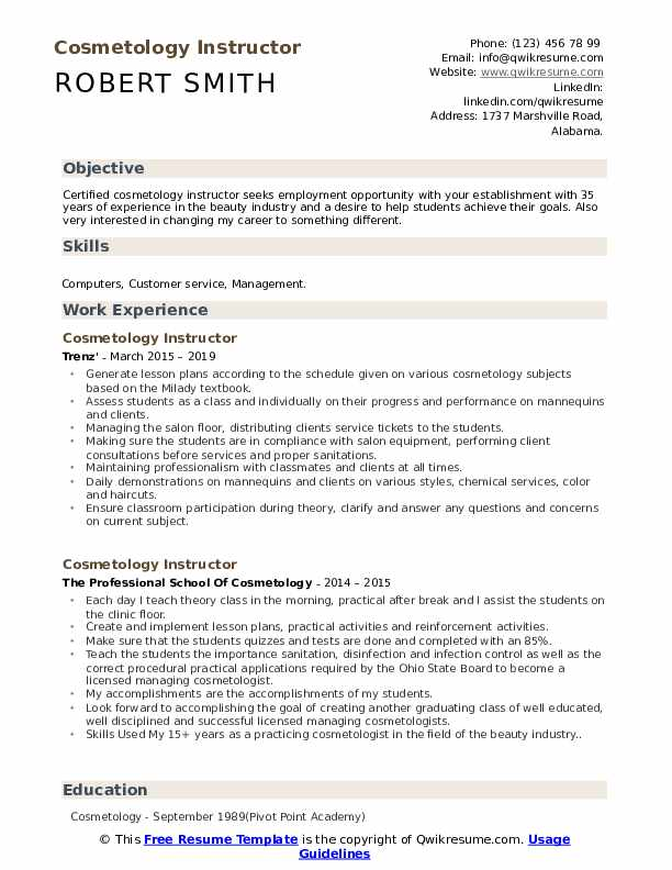cosmetology instructor resume samples qwikresume student examples pdf free templates for Resume Cosmetology Student Resume Examples