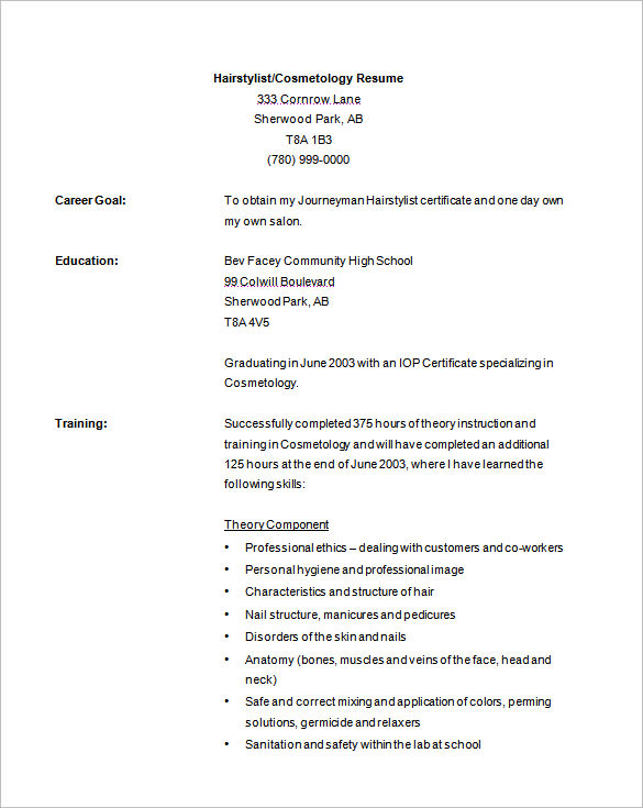 cosmetology resume templates business form letter template example recent graduate sample Resume Cosmetology Resume Example Recent Graduate