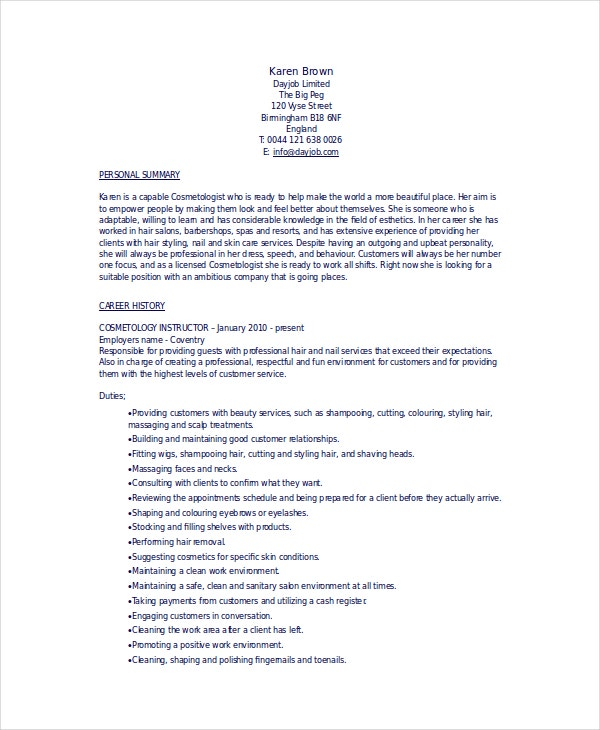cosmetology resume templates pdf free premium student examples computer science technical Resume Cosmetology Student Resume Examples
