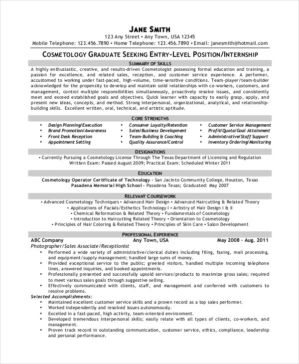 cosmetology resume templates pdf free premium student examples sample template excel Resume Cosmetology Student Resume Examples