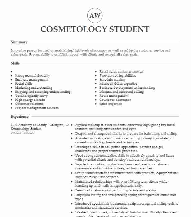 cosmetology student resume example empire beauty school examples loss prevention Resume Cosmetology Student Resume Examples