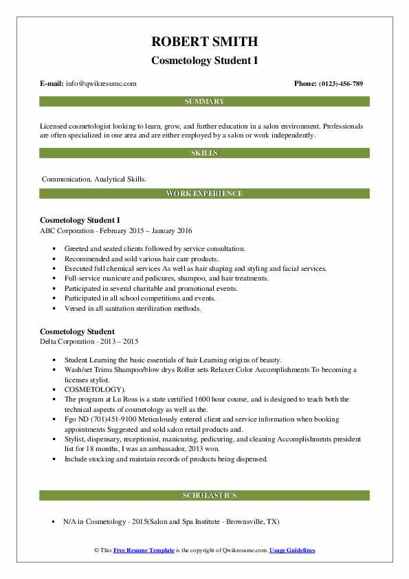 cosmetology student resume samples qwikresume examples pdf average cost for writing Resume Cosmetology Student Resume Examples