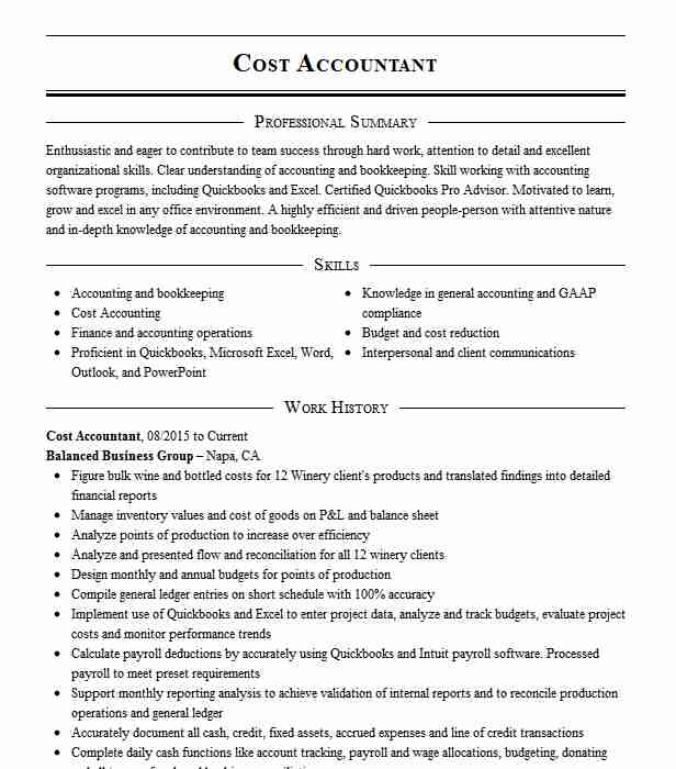 cost accountant resume example resumes livecareer core competencies for accounting spring Resume Core Competencies For Accounting Resume