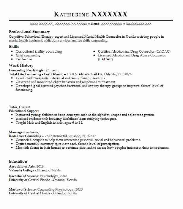 counseling psychologist resume example livecareer psychology sample format for freshers Resume Psychology Resume Sample